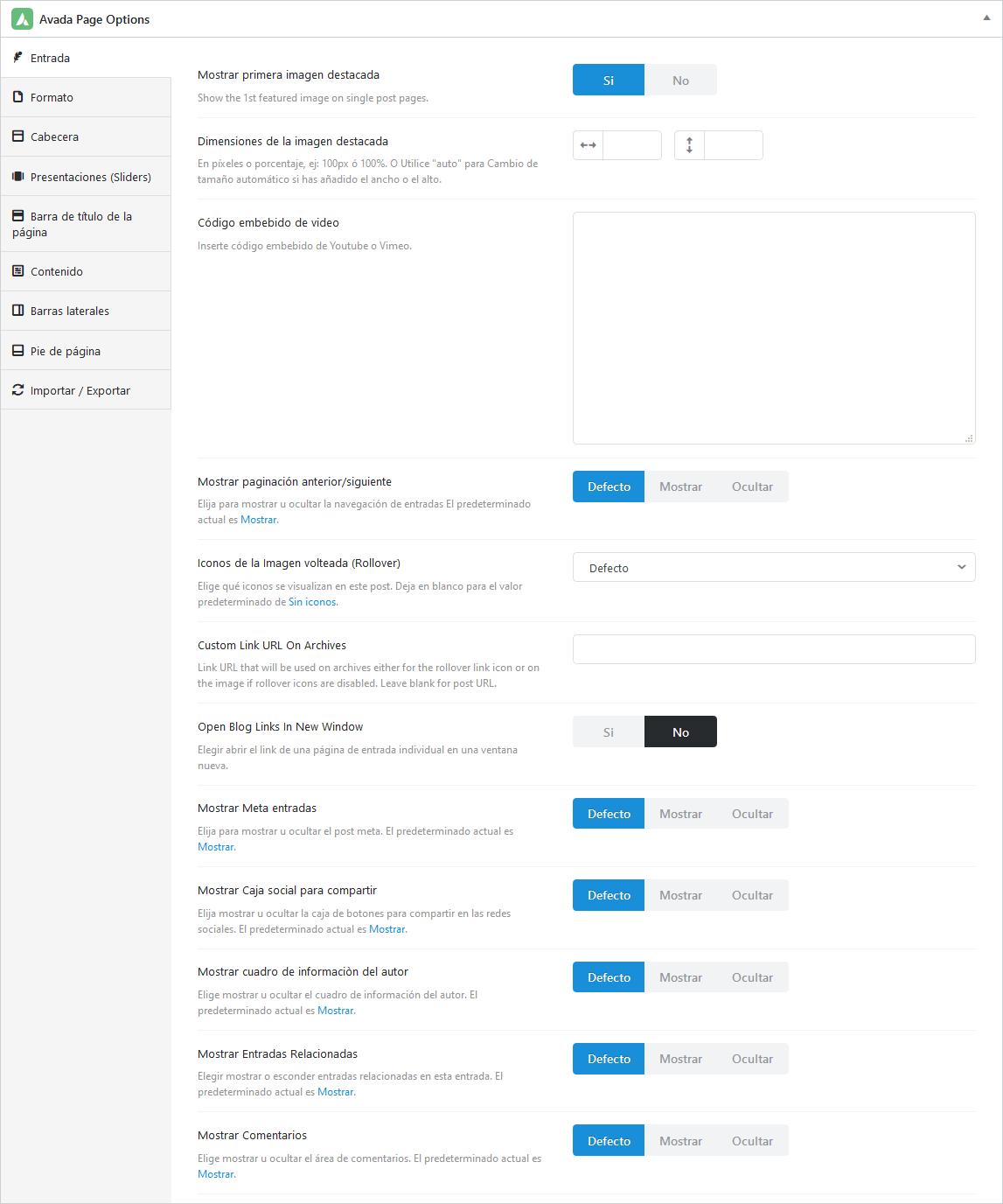 Avada Page Options para entradas de blog