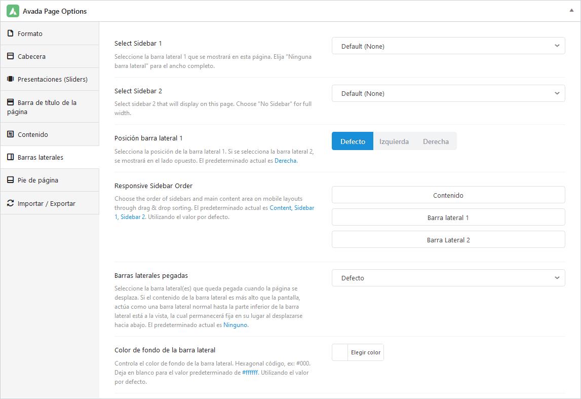 Configuración a nivel de páginas de las barras laterales