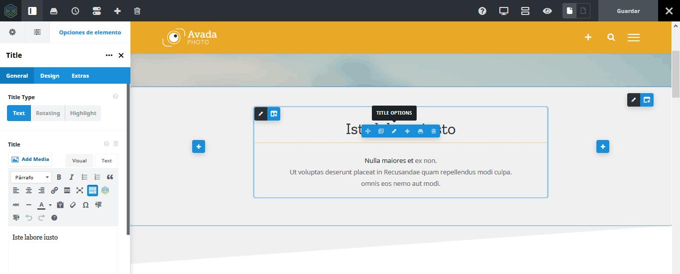Editar elemento de título con el constructor visual en el frontend de Avada