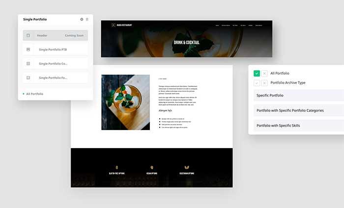 Ejemplo de nuevo layout para proyectos individuales de portfolio hecho con el Theme Buildera