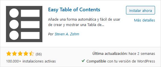 Instalar plugin Easy Table of Contents