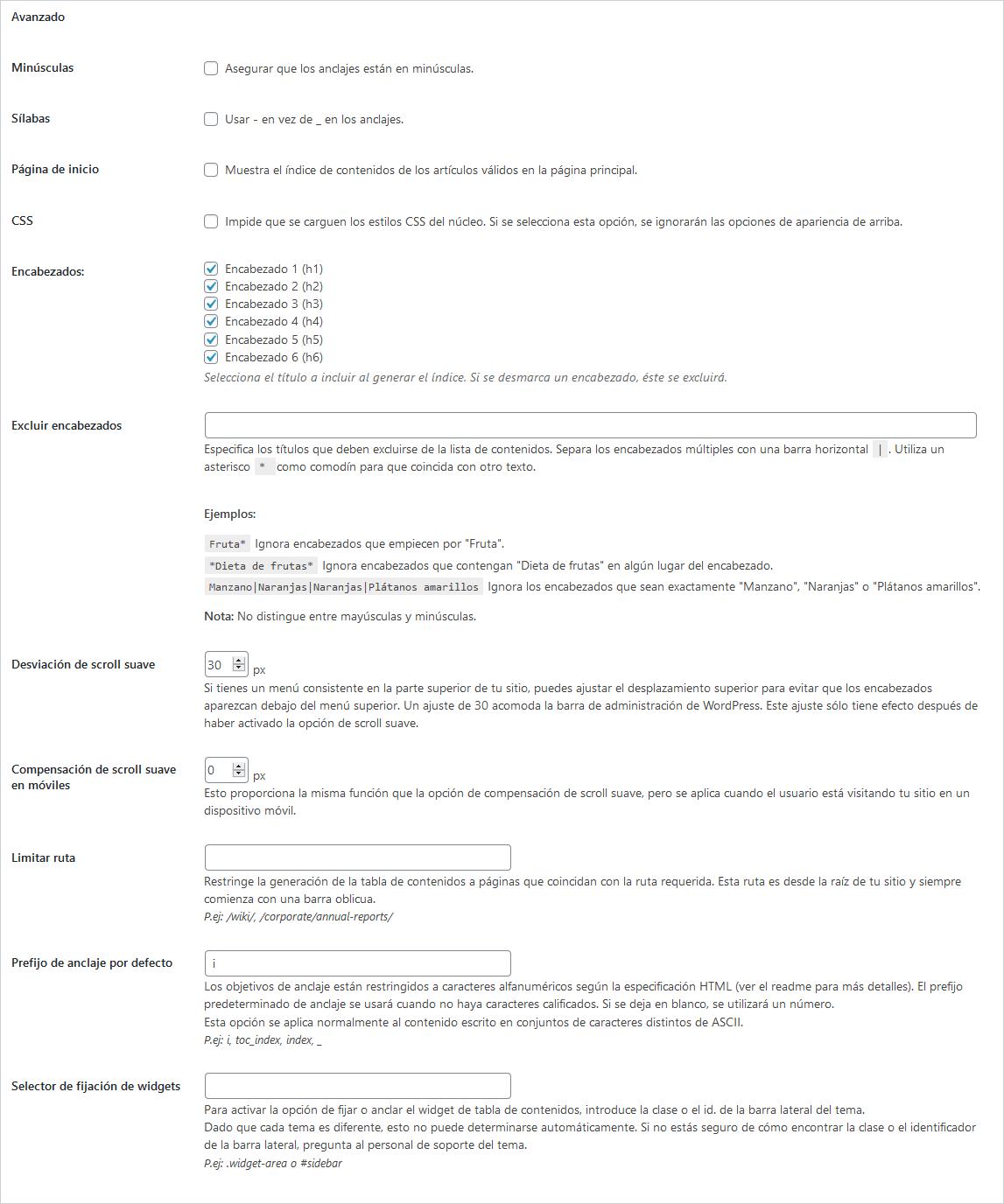 Opciones avanzadas del plugin de tabla de contenidos