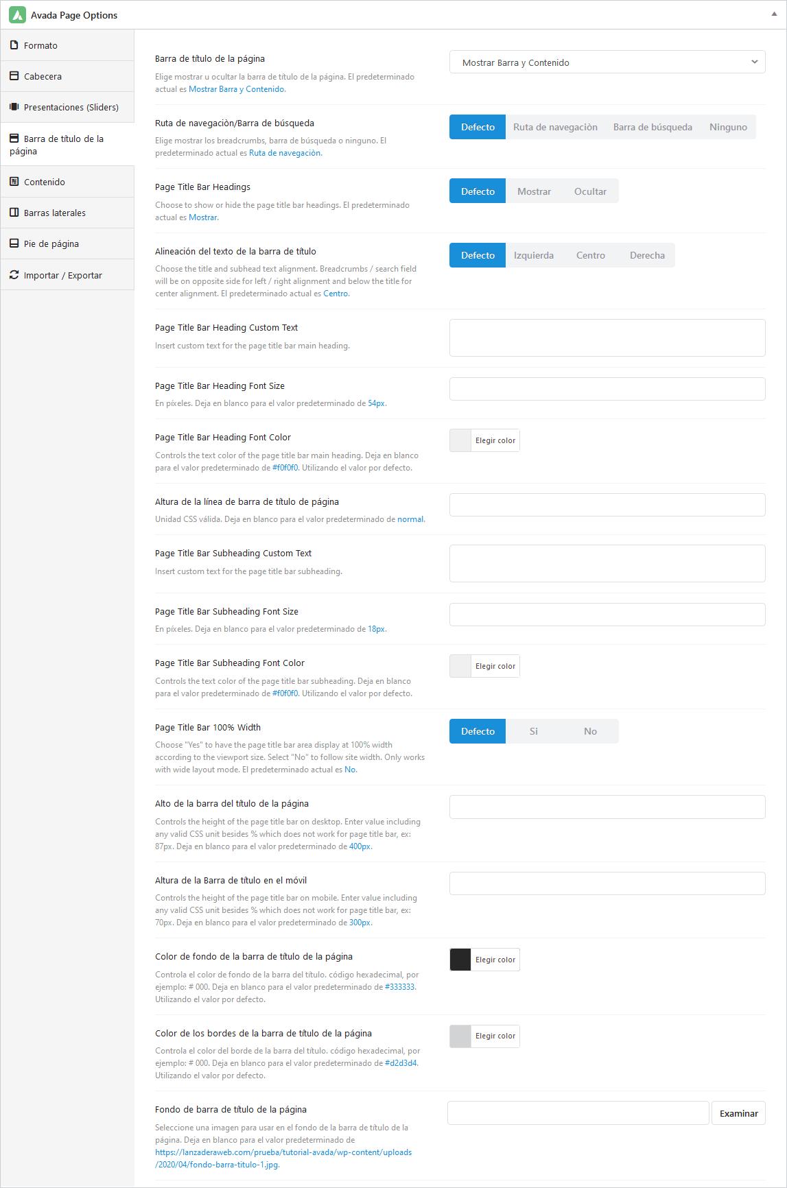 Opciones de configuración de la barra de título en Avada