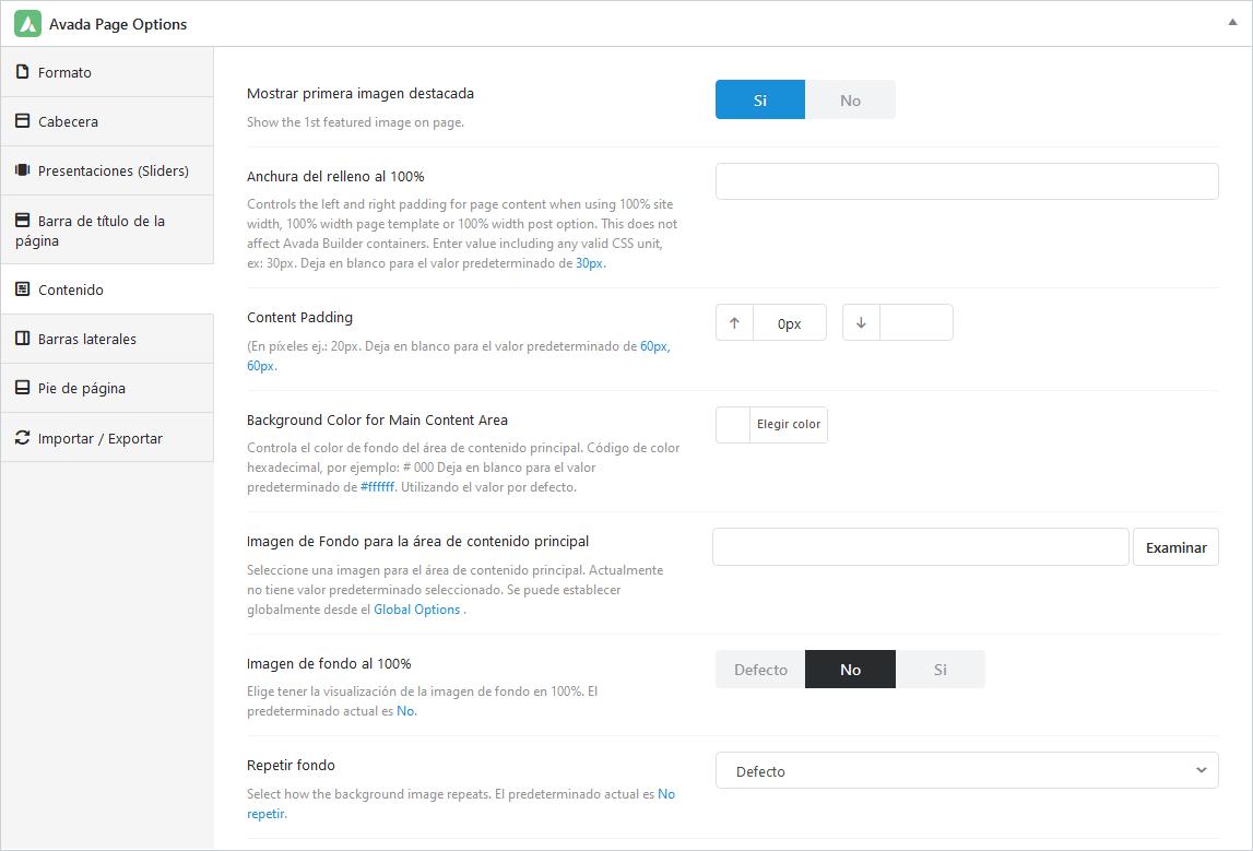 Opciones de contenido