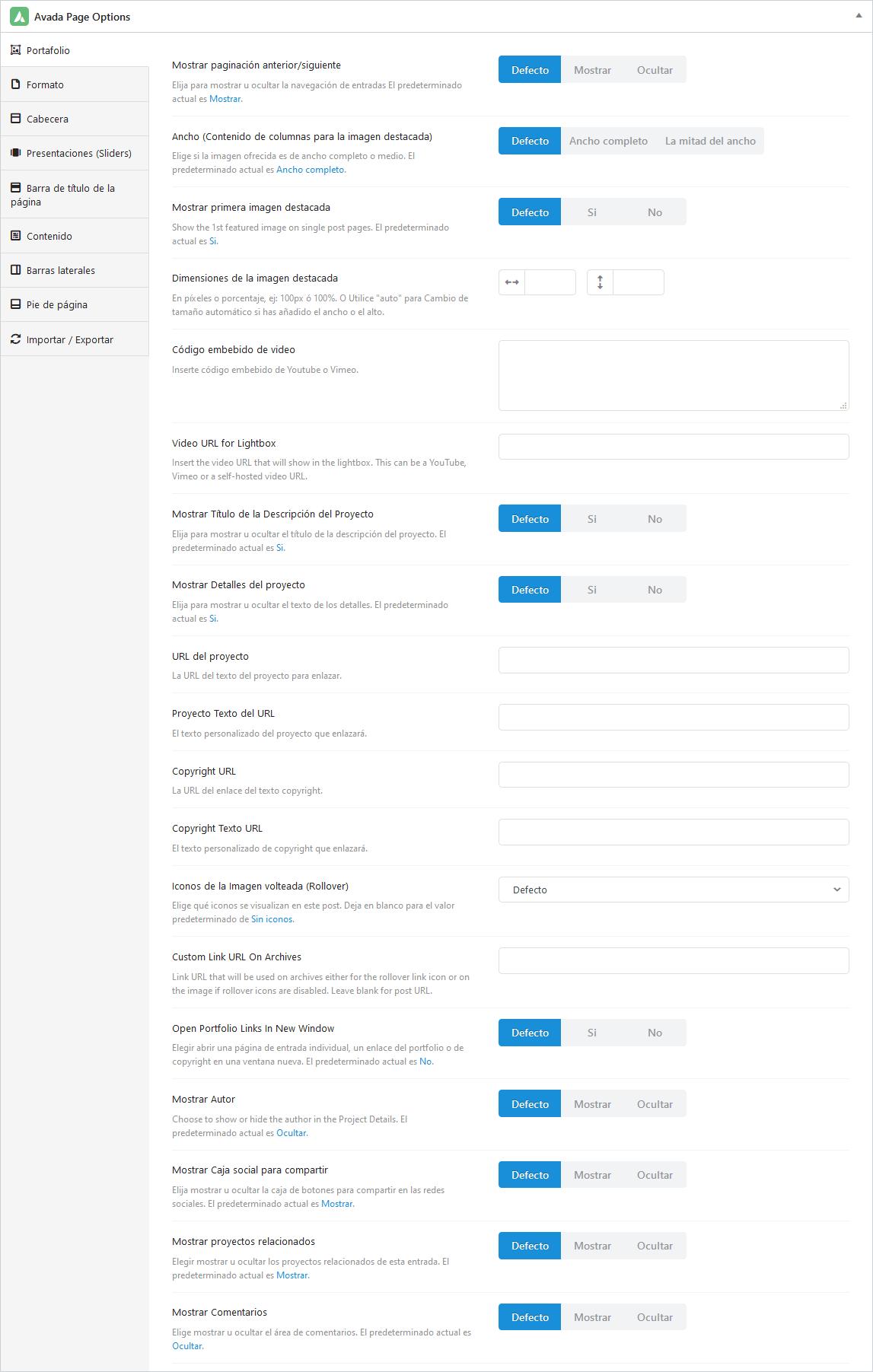 Opciones de página para portfolio individual