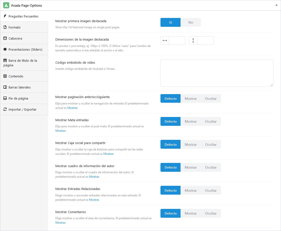 Opciones para preguntas frecuentes