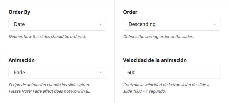 Otras opciones de configuración de Avada Slider