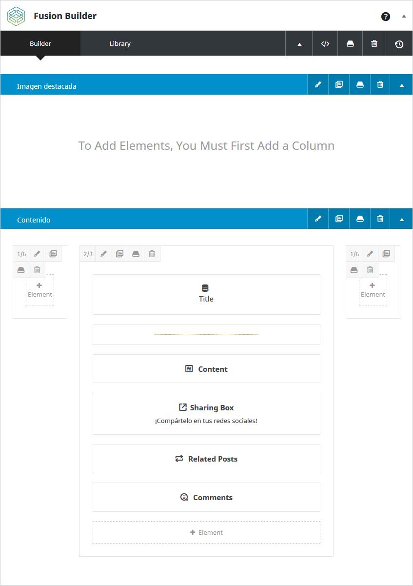 Sección layout de contenido para las entradas individuales