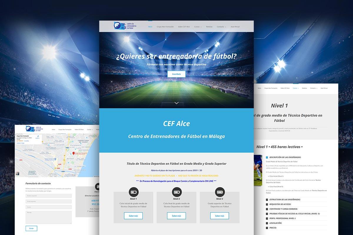 Diseño web de CEF Alce, cursos de entrenadores de fútbol