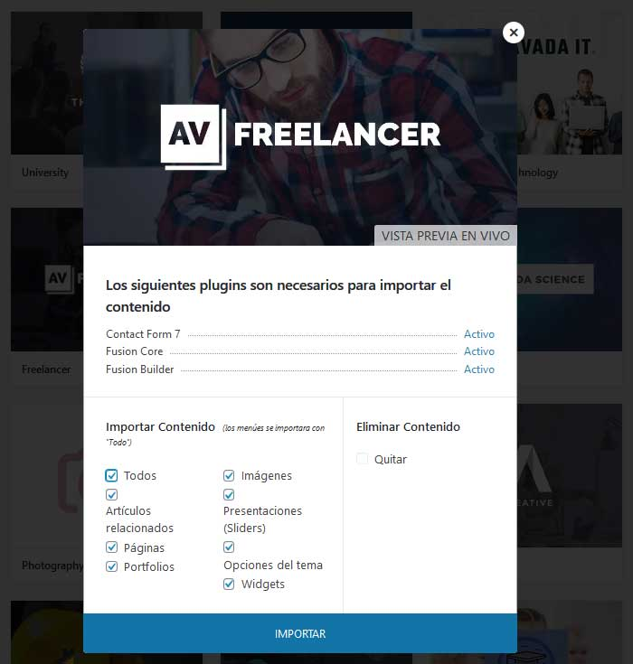 Importar demo Avada Freelancer