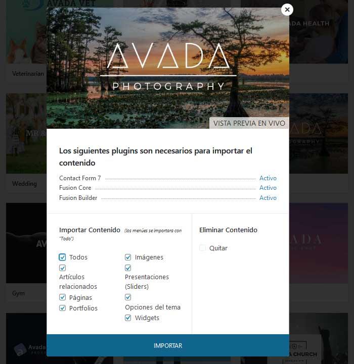 Importar demo Avada Photography