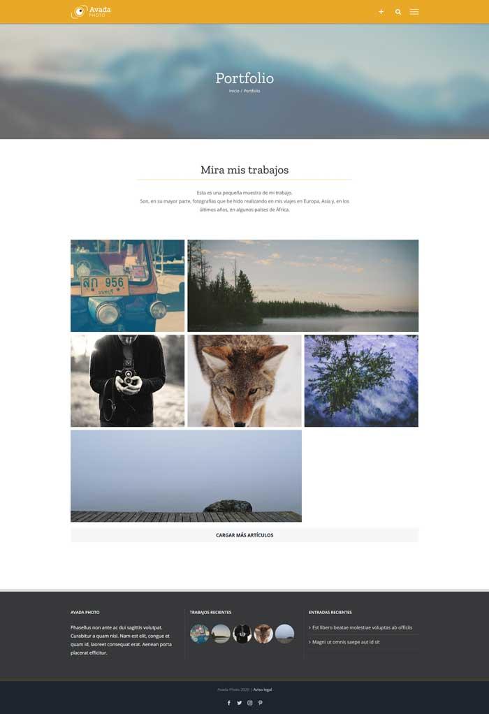 Página de portfolio de fotografía con Avada Theme