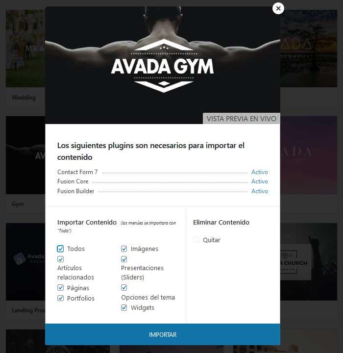 Importar el contenido de Gym Avada Demo